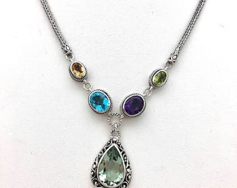Sterling Silver Multi-color Bali Necklace