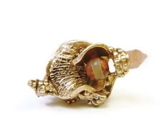 Bague en bronze artisanal à gemmes, grande bague en volume