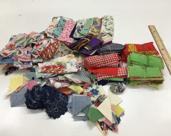 Huge Lot Feedsack and Vintage Small Quilt Pieces