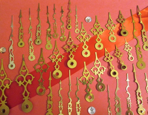 36 Assorted Vintage Solid Brass and Brass Plated Serpentine Sytle Clock Hands for your Clock Projects, Jewelry Making, Steampunk Art