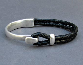 Braided Leather Bracelet, braided, Men Bracelet, Leather Bracelet, Black Brown Leather Mens Bracelet, Silver Plated Customized On Your Wrist