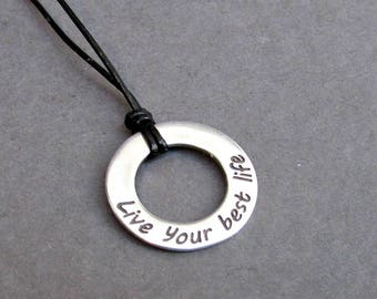Quote Mens Necklace Pendant, Mens Silver Leather Necklace, Best Friend, Boyfriend Gift Adjustable