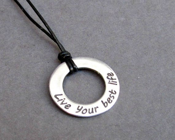 Quote Mens Necklace Pendant, Mens Silver Leather Necklace, Best Friend, Boyfriend Gift Adjustable