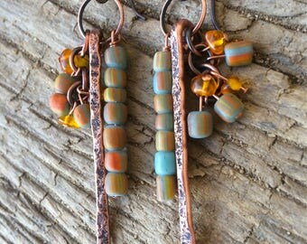 Gemstone Copper Earrings | Amber | African Trade Beads | Hammered Copper | Handcrafted Jewelry | HypoAllergenic | Sigrid Anne Design