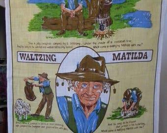 Vintage Linen Tea Towel 1980s Australian  Song Waltzing Matilda Pure Linen Dish Towel Poem Song text, Swagman, Campfire Australiana
