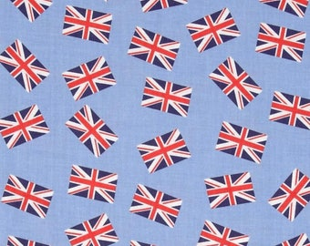 Union Jacks Fabric in Blue or Green, Jack & Lulu for Dear Stella, London Calling, Fat Quarter or yardage, Great Britain, UK Flag