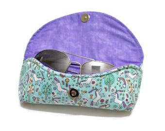 Rainbow Unicorn Sunglasses Case, Hard Sunglasses Case, Blue Sunglasses Case, Sunnies Case, Purple & Blue, Eyeglasses Case