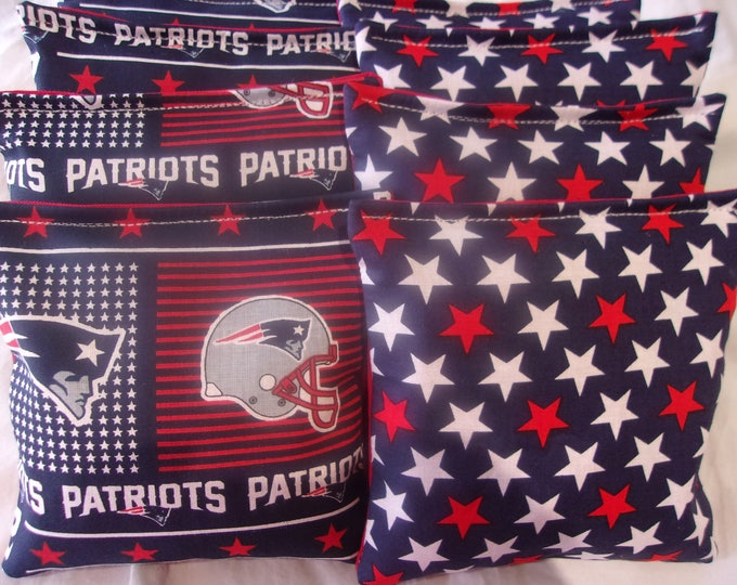 8 ACA Regulation Cornhole Bags - New England Patriots and Red and White Stars on Blue