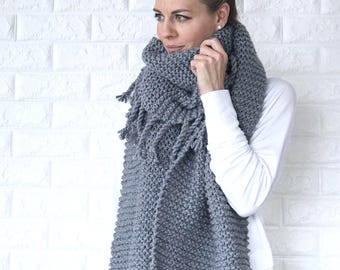 Chunky Knit Open-Ended Scarf with fringe/tassels | Steel Grey | THE NAPPA