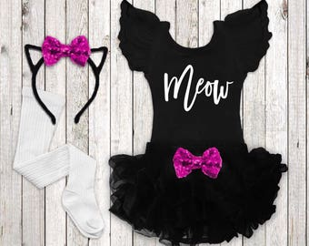 Baby Girl Cat Halloween Costume, Meow Cat Girl, Halloween Costume Toddler, Halloween Cat Outfit, Halloween Leotard Squishy Cheeks