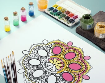 Mandala coloring,coloring art therapy,mandala coloring page,pdf,adult coloring pages,printable sheets,mandala art,mandala pdf download,gems