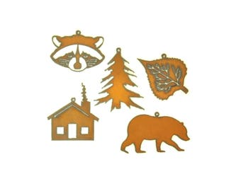 Cabin Themed Rusty Metal Ornament Assortment