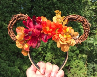 Autumn Harvest Floral Mickey Mouse Ears
