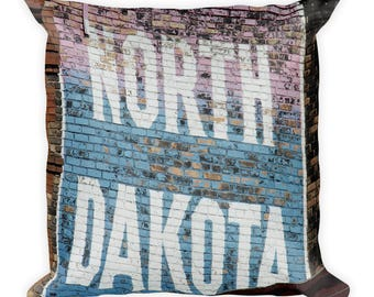 Square Pillow - Red Silo Original Art - North Dakota Building