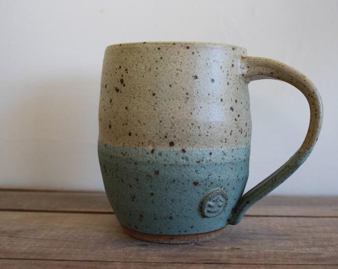 Coffee Mug - Tan & Moss Green - Handmade - Ceramics and Pottery - KJ Pottery