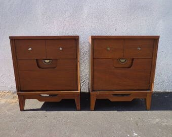 2 Nightstands Mid Century Modern Pair of Bedside Set of Tables Accent End Storage Wood Danish Vintage Wood Eames Retro CUSTOM PAINT AVAIL