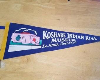 Koshare Indian Kiva Museum La Junta Colorado Souvenir Pennant Flag