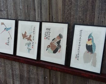Set of 4 Oriental  Prints Birds