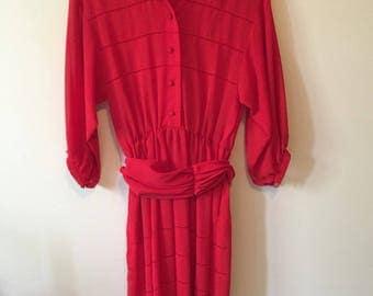 Vintage 1980s long red Albert Nipon dress, size S-M, waist sash detail