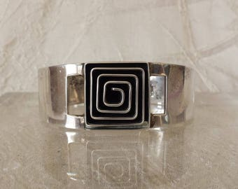 Taxco Mid Century Mexico Modernist Sterling Silver Cuff Bracelet 62.6 grams