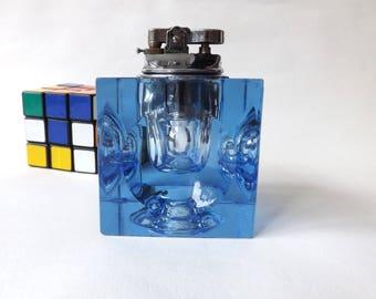 Retro Blue Glass Table Lighter, 1960s Japanese Tobacciana, Mod Decor, Cube Lighter, Chrome Lighter FF