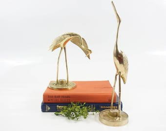 Vintage Brass Pair Crane Brass Bird Figurine Brass Flamingo Bird Statue Brass Animal Brass Animal Figurine Brass Statue Bookshelf Decor
