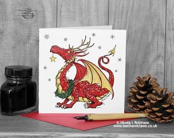 Dragon Christmas Card, Welsh Dragon, Red Dragon, Welsh Christmas Card, Christmas Card, Dragons, Wales, Christmas Card for kids, Children