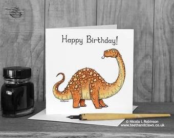 Happy Birthday Card, Diplodocus, Dinosaur Birthday Card, Childrens, Kids, Birthday Card, Dinosaurs, Cute, Orange, blank inside