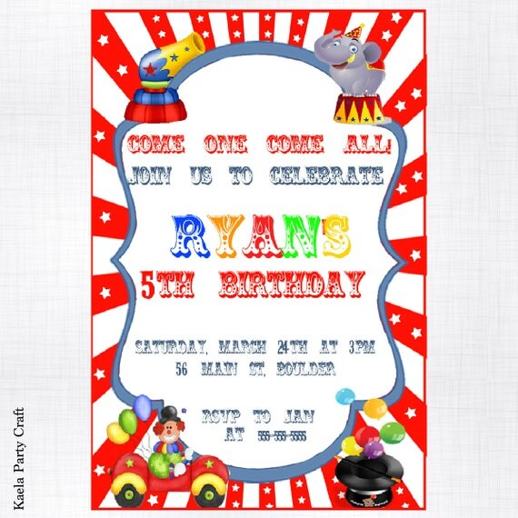 Circus Birthday Invitations Circus Themed Birthday Circus Birthday