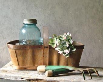 Vintage Garden Basket –16 inch Long Farm Market Basket, Split Wood Handle, Wood Bottom / 0667