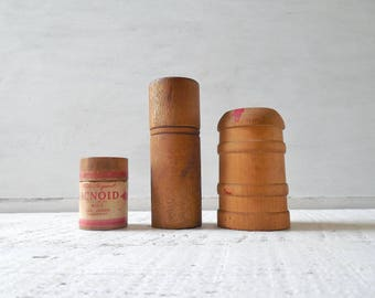 Antique Wood Medicine Bottle /Cylinder Case Collection - 3 Pharmacy, Apothecary or General Store Lidded Round Box, One 1920's Label Acnoid