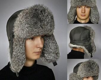 FUR EAR FLAP Hat, Men real fur hat, Trapper Hat, Aviator Hat, Ushanka, Russian Hat, Ski Hat, Rabbit Fur, Fur Hat Ear Flaps, Real Fur Hat