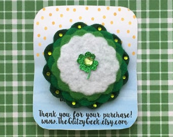 St. Patrick's Day Hair Bow, St. Patrick's Day Bow, Four Leaf Clover Hair Bow, Four Leaf Clover Bow, Shamrock Hair Bow, Green and White Bow