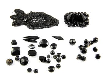 Antique victorian black jet beads, set of buttons and dress decoration