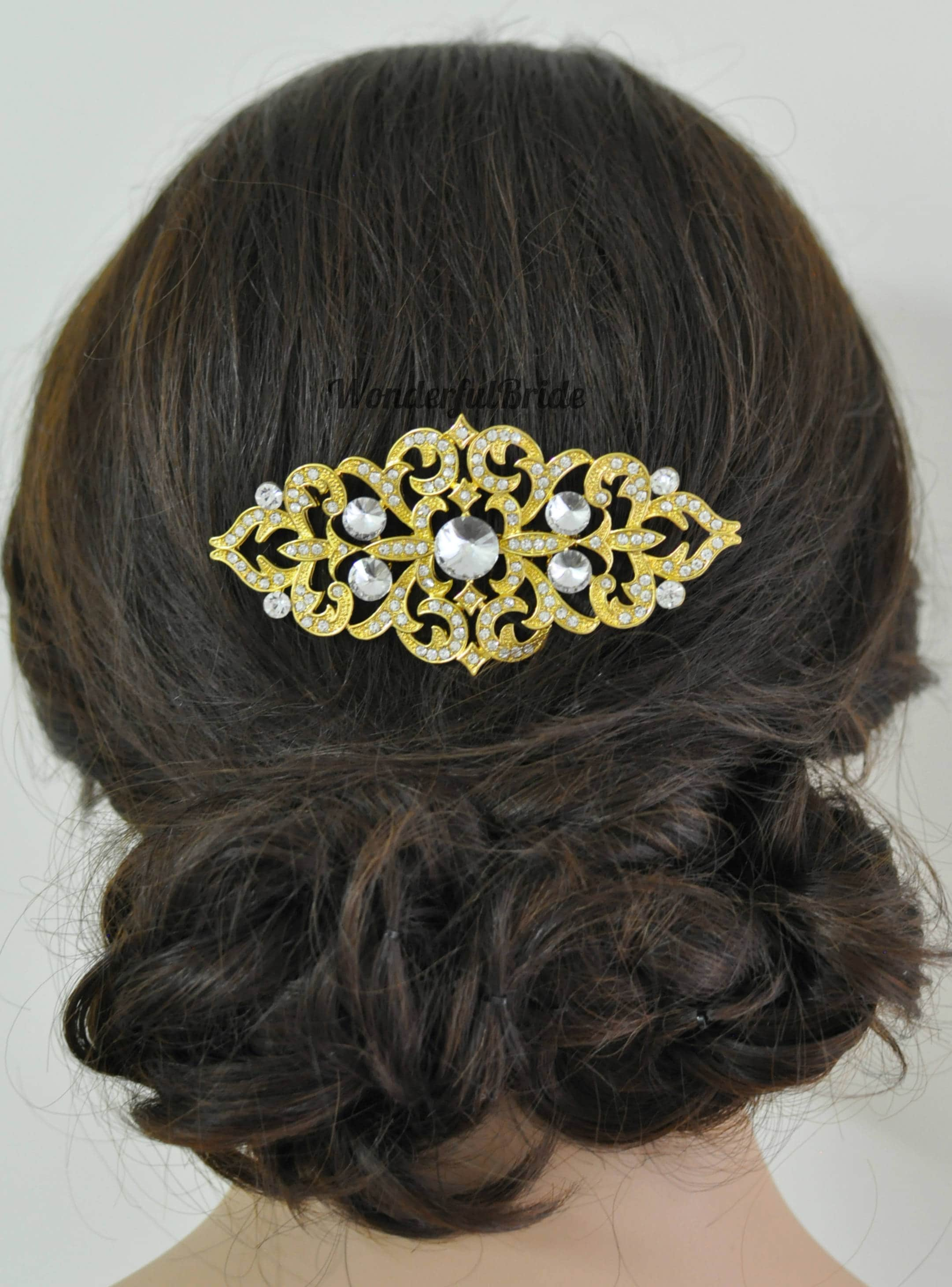 vintage inspired bridal hair comb, crystal gold hair comb