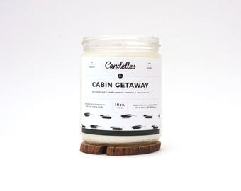 READY TO SHIP Cabin Getaway Scented Soy Candle, Natural Strong Fragrance Throw, Hand Poured, Pennsylvania Made, Best Seller, Fall, Autumn