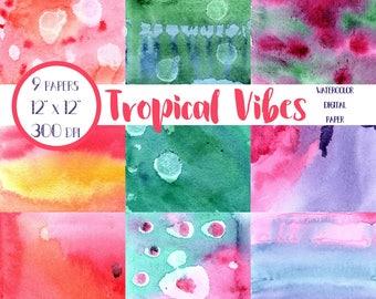 Tropical Watercolor Digital Paper, Tropical Watercolor Washes, Tropical Digital Paper Pack, Tropical Watercolor Backgrounds