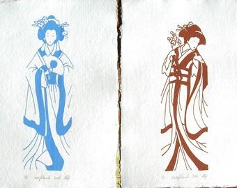 Two Original Screenprints**2 Geisha prints**Gocco print