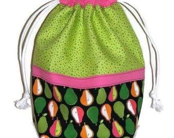 Modern Fabric Drawstring Bag, Project Bag, Fabric Gift Bag, Travel Toy Bag, Shoe Bag, Green Pink Black Fruit Motif, Quiltsy Handmade