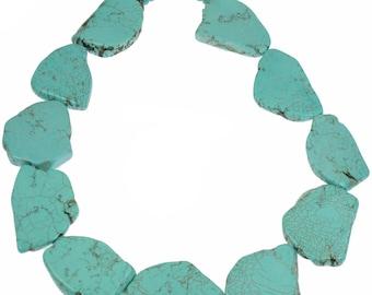 Semi precious genuine turquoise chunky large flat slab shape stone 48 cm choker necklace