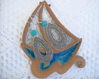 Large angelite.chandelier earrings