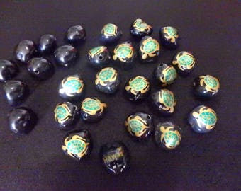 Hawaiian Black Kukui Nuts (Candle Nut) Beads with Hand Painted turtles  green & gold  lot of 20