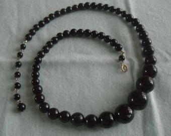 Classic Black graduated beaded necklace  -  single strand