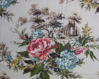 "vintage barkcloth curtain / floral architectural /95"" x 102"""