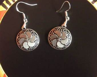 Authentic designer buttons repurposed into 925 sterling silver earrings