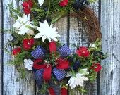 Patriotic Wreath, Americana Wreath, 4th of July Wreath, Labor Day Wreaths, Memorial Day Wreath, Fourth of July Wreath, Patriotic Door Decor