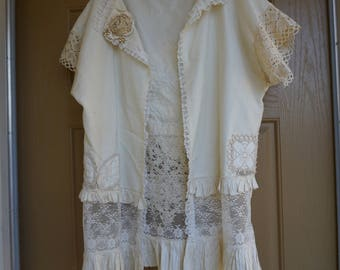 Vintage sheer lace floral blouse shirt jacket white cream ivory Large 70s 80s 1970s 1980s ruffles hand made