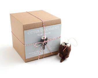 DIY Kit - Otter with a Candy Cane Ornament Needle Felting Kit - Christmas Craft Kit