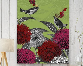 Living room decor - Blooming birds chrysanthemum 1 - living room art living room painting living room canvas home decor canvas painting