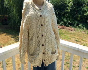 Large Irish Nordic Fair Isle CladyKnit Fisherman Cable Knit Honeycomb Hand Finished Cardigan SweateL